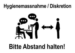 ds25 DiskretionSchild - ks523 Kombi-Schild - Wartezimmer - german text: Hygienemassnahme / Diskretion - Bitte Abstand halten - banner white - Vorlage / Druckvorlage - DIN A1 A2 A3 A4 - xxl g9175